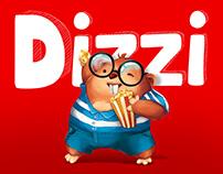 DIZZI - logo, character, branding, landing, packaging