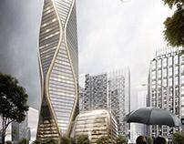 Hangzhou tower - rain