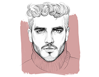 Male portrait illustrations.