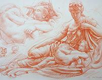 Red chalk prepared paper, A3