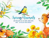 Watercolor Spring Animals