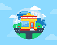 Flat illustrations for online shops