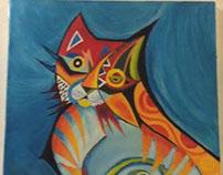 El gato ojeando