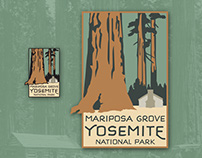 Mariposa, Yosemite National Park pin and patch artwork