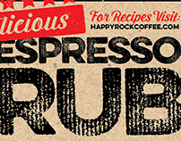 Espresso Rub Label Design for Happyrock Coffee Co.