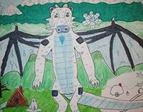 Mark the ice dragon near Mt. Retlawkram