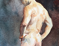 Watercolor study of a standing man #2…