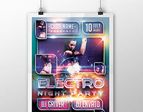 Electro Night Party Flyer/Poster PSD Template