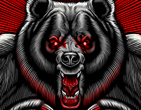 "Break Point ""Attack"" Bear rash guard illustration"
