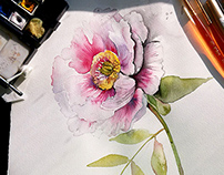 Floral pattern with peonies on watercolor background.