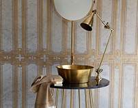 AVALUXURY Bathrooms... Gold leaf marble design.