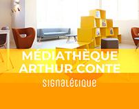 Signalétique de la médiathèque Arthur Conte
