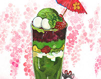 "Food illustration of Matcha / cooperate with ""平安京茶事"""
