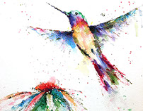 Watercolor - Hummingbird and Flower