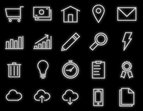 Simple Neon Line Art Vector Icons Set