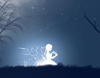 Little girl under moon light