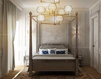 Light classic master bedroom design