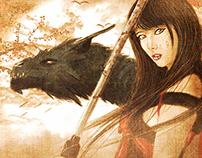 Katana , girl and dragon!