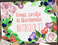 Roses and Sweets Watercolor Set