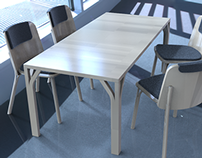 KeyShot rendering, table and chairs