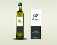Olive oil label with hand-drawn watercolor olive fruit