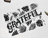 Grateful (Victorian + Leaves Illustration)