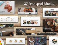 Landing page for restaurant   |   37 free .psd blocks