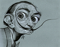 Caricatura de Salvador Dalí