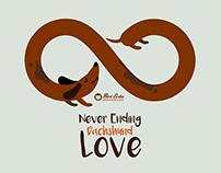 Never Ending Dachshund Love seamless pattern
