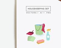 Housekeeping Illustrations Vectors Set