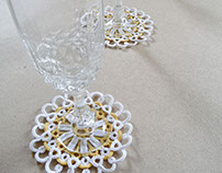 Wedding in Vintage Style. Lace Coasters.
