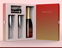 Champagne Box Packaging Mockup
