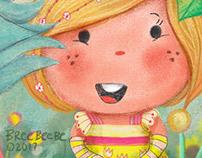 GirlHiding in the Garden, Digital Illustration