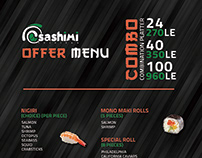 Sashimi Sushi Bar Offer Menu Design