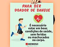 """cartazes informativos sobre doação de sangue """"Hemosc"""""""