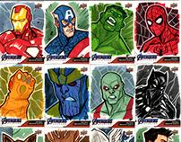 """""""Marvel End Game"""" + """"Captain Marvel"""" Sketch Cards"""