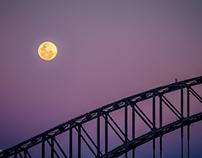 Moon Rising over Sydney Harbour Bridge
