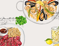 Delicious food illustration