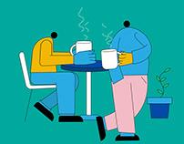Tea Time Flat Illustration