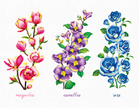 Coloured Pencil Flowers Drawing