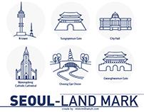 Seoul Landmark icon set