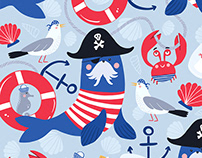 Pirates Ahoy! vector pattern collection