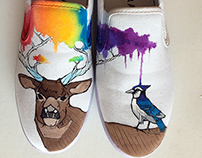 Hand Painted Deer and Bluejay Shoes