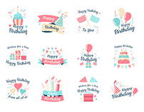 Birthday Vector Badges