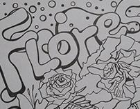 Ilustração com tema primavera e flores