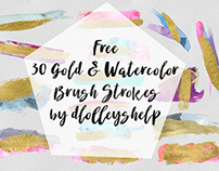 FREE 30 GOLD & WATERCOLOR BRUSH STROKES
