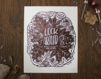 Look Around Linocut Print