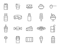 20 Dairy Products Vector Icons