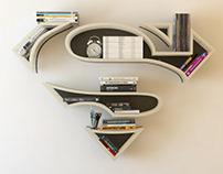 Superman2, Supergirl, iron, shelf, design, bookshelf