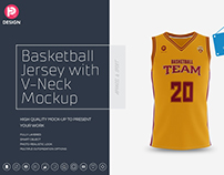 Basketball Jersey with V-Neck Mockup